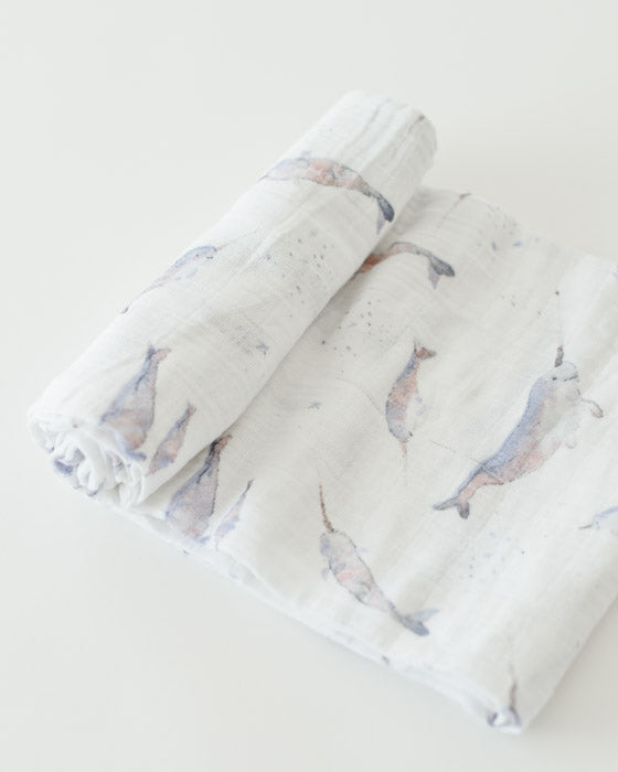 Swaddle - Muslin - Single - Narwhal - Brambler Boutique