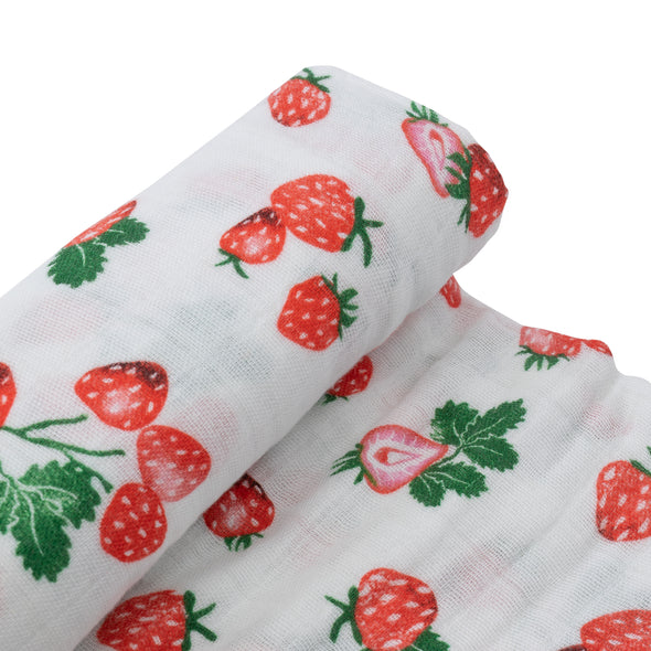 Swaddle - Muslin - Single - Strawberry Patch - Brambler Boutique