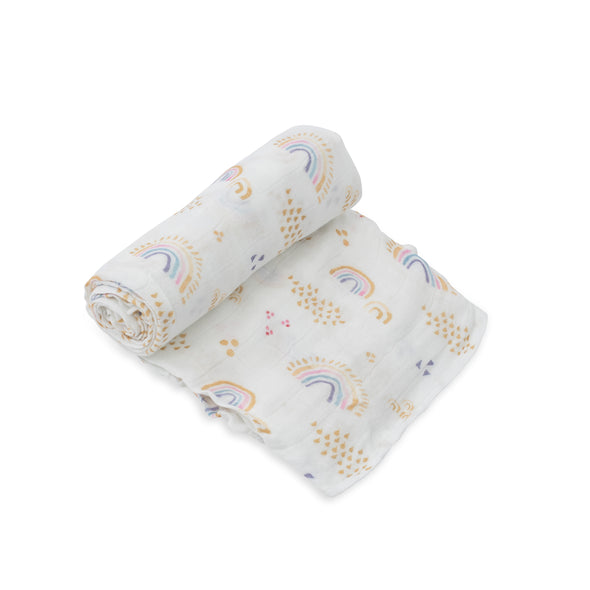 Swaddle - Deluxe Muslin - Rainbows & Raindrops - Brambler Boutique
