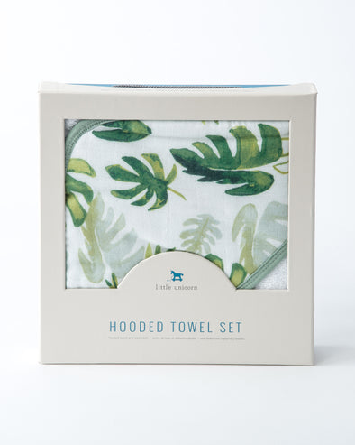 Hooded Towel - Tropical Leaf - Brambler Boutique