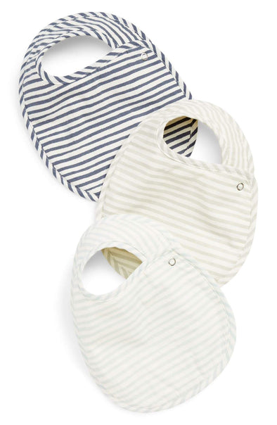 Bib Set of 3 - Stripes Away Sea - Brambler Boutique