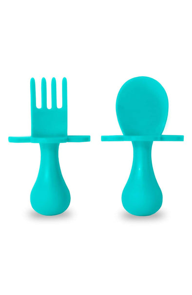 Grabease Self-Feeding Utensil Set of Spoon and Fork for Babies - Brambler Boutique