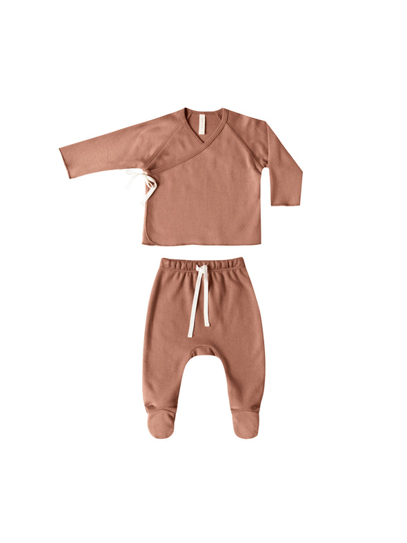 Kimono Top + Footed Pant Set - Clay - Brambler Boutique