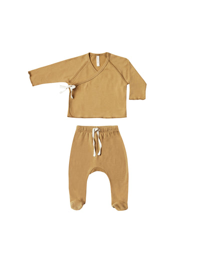 Kimono Top + Footed Pant Set - Honey - Brambler Boutique