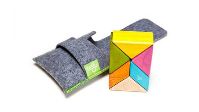 Magnetic Wooden Block Travel Set with Pouch - Prism - Brambler Boutique