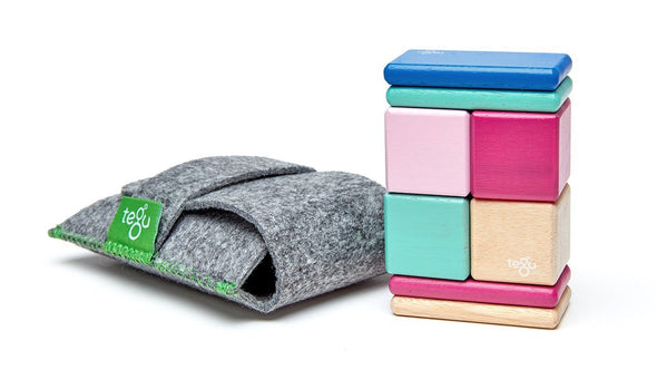 Magnetic Wooden Block Travel Set with Pouch - Brambler Boutique