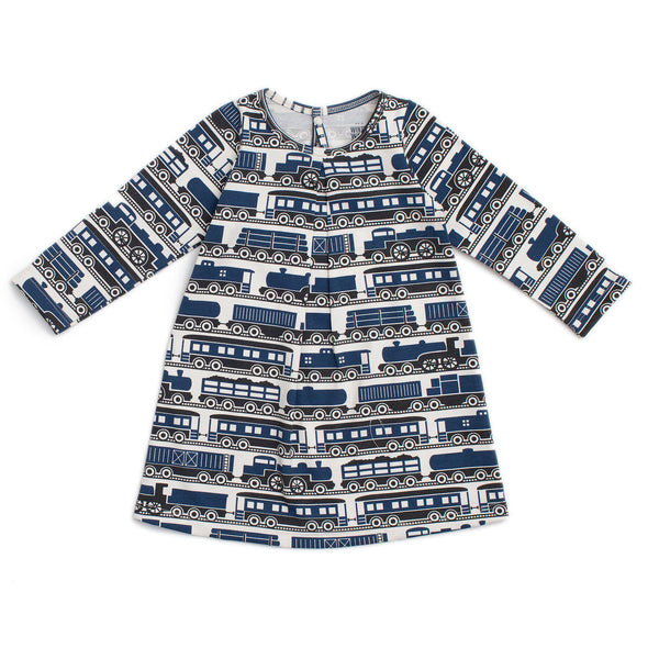 Organic Baby Dress - Trains - Brambler Boutique