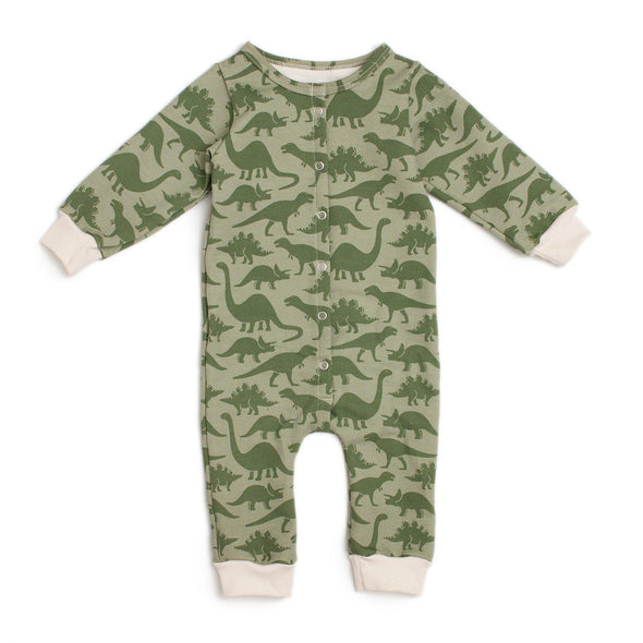 Organic French Terry Long Sleeve Baby Romper - Dinosaurs - Brambler Boutique
