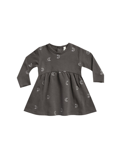 Organic Long Sleeve Dress - Fleece - Coal-Clothing-Quincy Mae-0-3m-Brambler Boutique