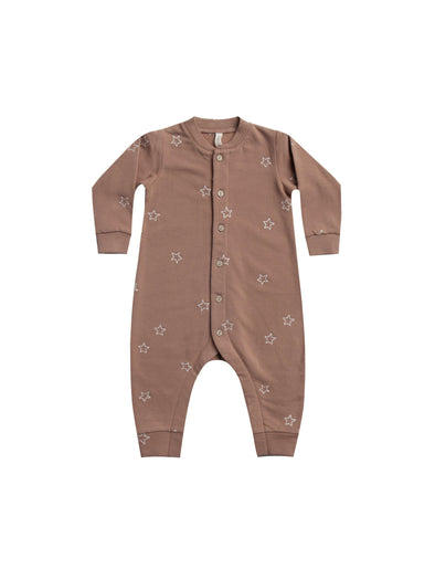 Organic Long Sleeve Fleece Playsuit - Clay - Brambler Boutique