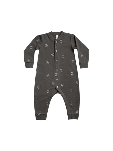 Organic Long Sleeve Fleece Playsuit  - Coal - Brambler Boutique