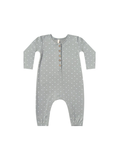 Organic Long Sleeve Playsuit - Dusty Blue - Brambler Boutique