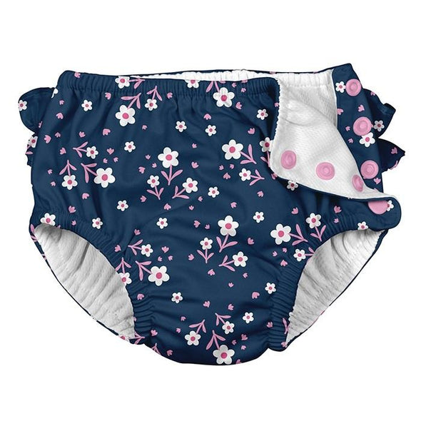 Snap Reusable Swim Diaper - Navy Posies - Brambler Boutique