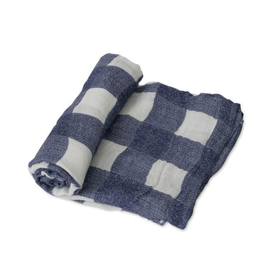 Swaddle - Deluxe Muslin - Blue Plaid - Brambler Boutique