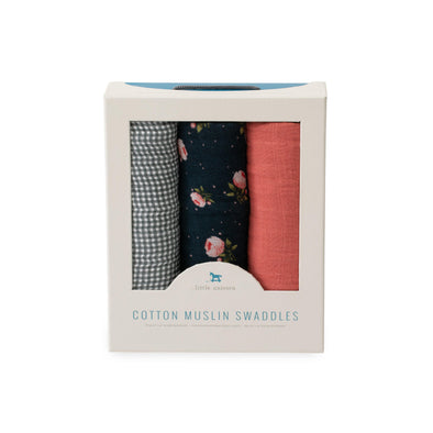 Swaddle - Muslin - 3 Pack - Midnight Rose - Brambler Boutique