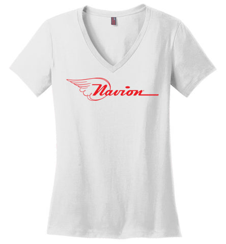 Navion Logo T-Shirt (Short Sleeve) - Red Logo - Ladies V-Neck