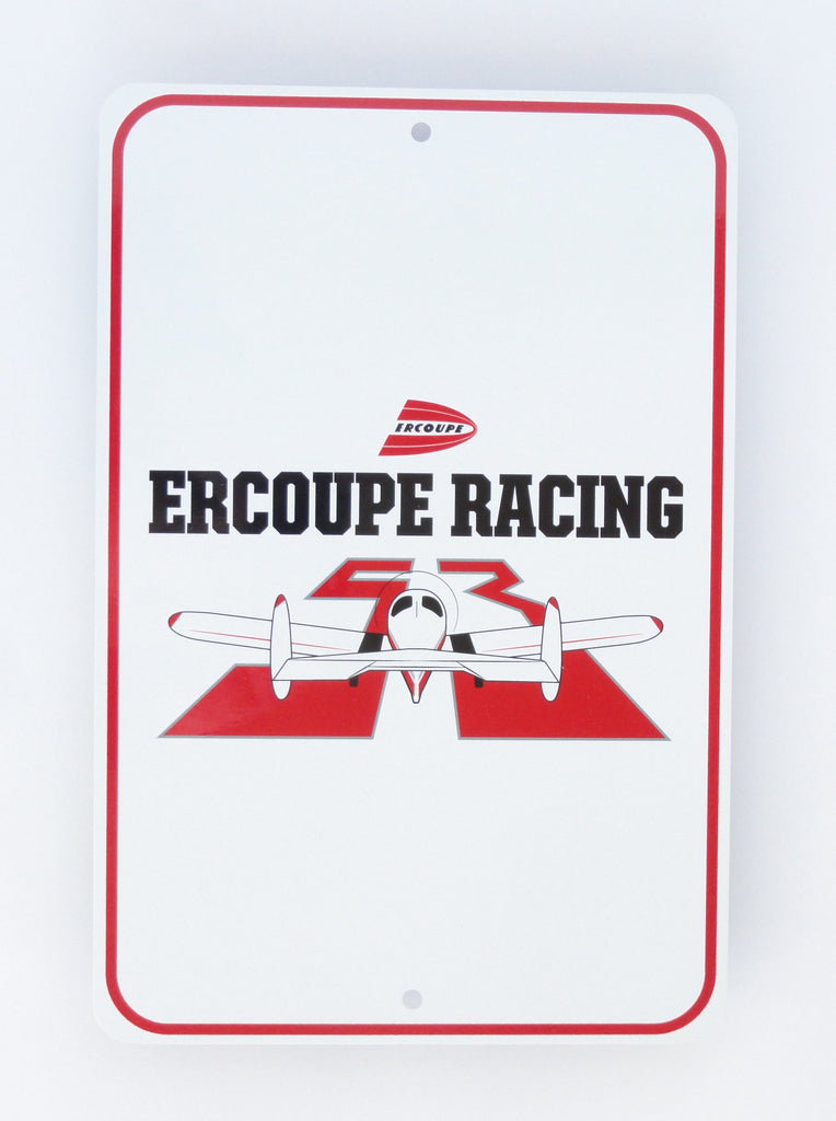 Race 53 Ercoupe Racing Metal Sign (White)