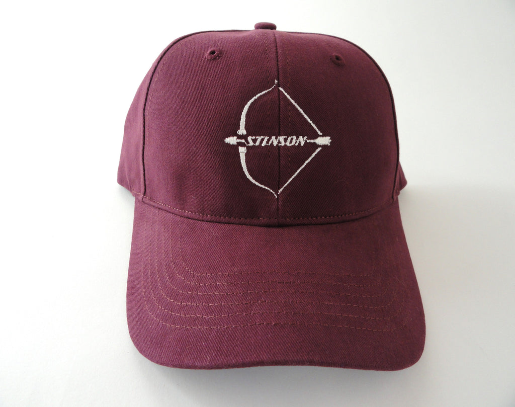 Stinson 108 Hat - (Fabric Back) - Embroidered Emblem - Maroon/White