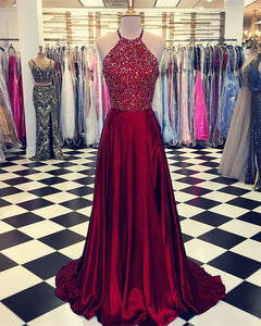 acc24c5afe7 Home › Luxurious Crystal Halter Prom Dresses Long Satin Leg Split Evening  Gowns. Prom-Dresses