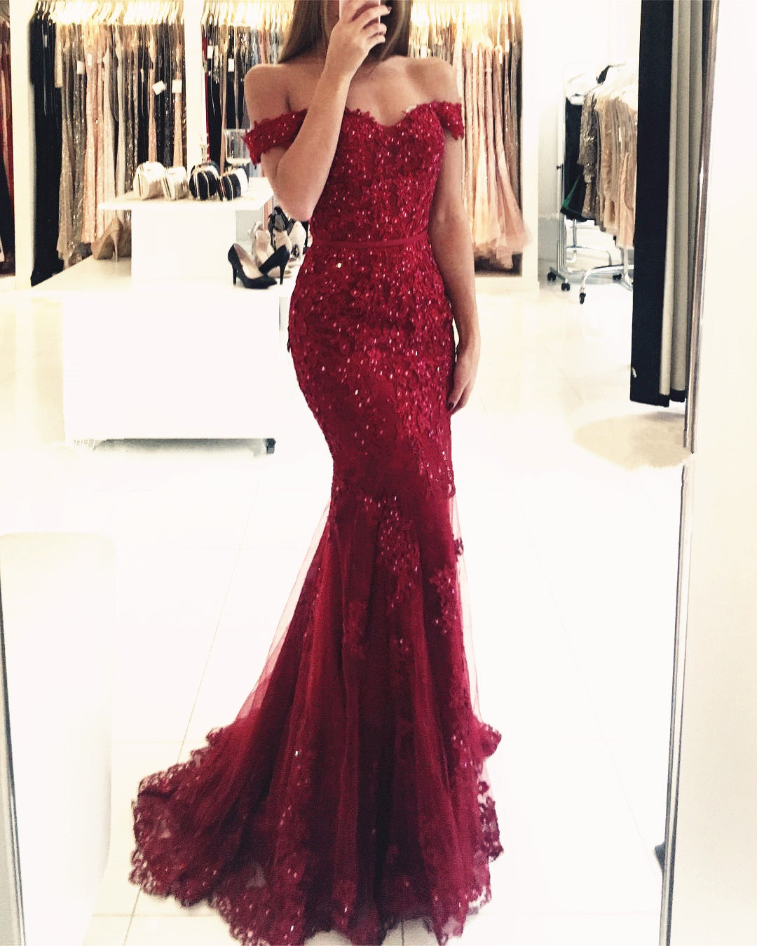 33156bba7c8 Elegant Pearl Beaded Lace Mermaid Evening Dresses Off The Shoulder Prom  Gowns