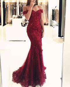 054aa3f5300 Elegant Pearl Beaded Lace Mermaid Evening Dresses Off The Shoulder Prom  Gowns