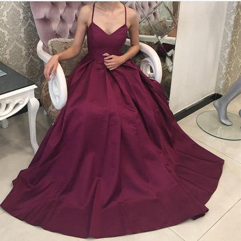 Image of Deep V Neck Satin Backless Evening Gowns 2018 Sexy Prom Long Dresses