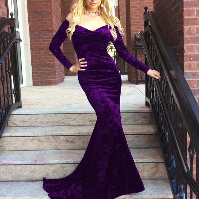 V Neck Off Shoulder Velvet Prom Dress Long Sleeves Mermaid Evening Gowns