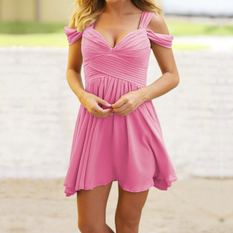 Image of Elegant Off The Shoulder Short Chiffon Bridesmaid Dresses For Weddings