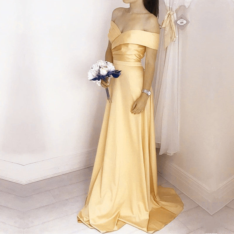 Simple Satin V Neck Off Shoulder Long Bridesmaid Dresses
