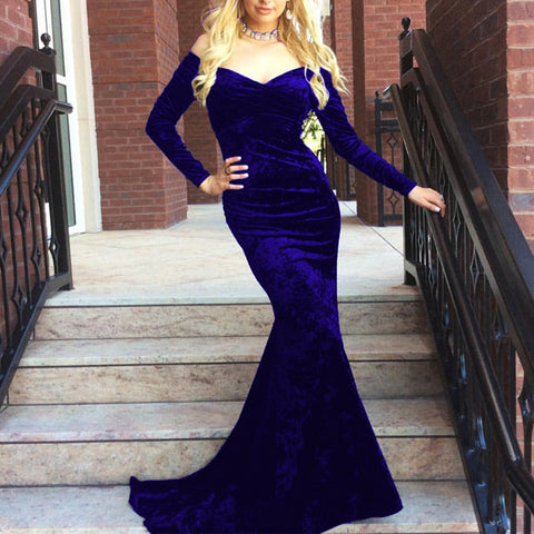 Image of V Neck Off Shoulder Velvet Prom Dress Long Sleeves Mermaid Evening Gowns