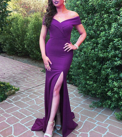 Image of V Neck Off The Shoulder Mermaid Bridesmaid Dresses With Leg Split