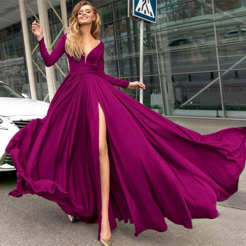Image of Long-Sleeves-Evening-Dresses