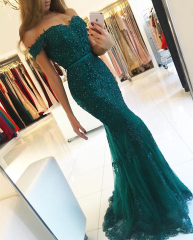 Image of Elegant Pearl Beaded Lace Mermaid Evening Dresses Off The Shoulder Prom Gowns