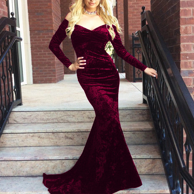 4a0c7a019e210 ... V Neck Off Shoulder Velvet Prom Dress Long Sleeves Mermaid Evening Gowns  ...