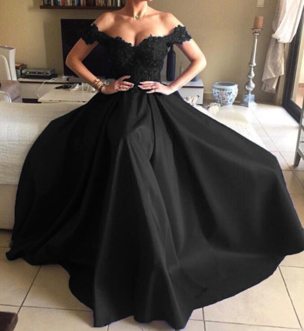 Lace Sweetheart Long Satin Mermaid Evening Dresses Off The Shoulder Prom Gowns