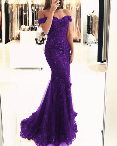 Image of Mermaid Purple Prom Dresses 2019