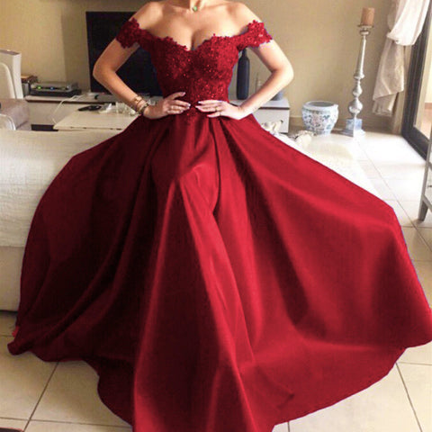 Image of Lace Sweetheart Long Satin Mermaid Evening Dresses Off The Shoulder Prom Gowns