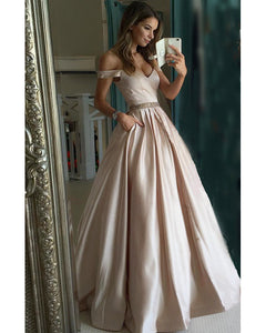 c23e4a3e30f Pretty Nude Satin V-neck Prom Dresses Off Shoulder Evening Gowns ...
