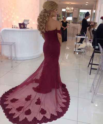 Image of Elegant Long Burgundy Mermaid Prom Dresses 2019 Lace Appliques