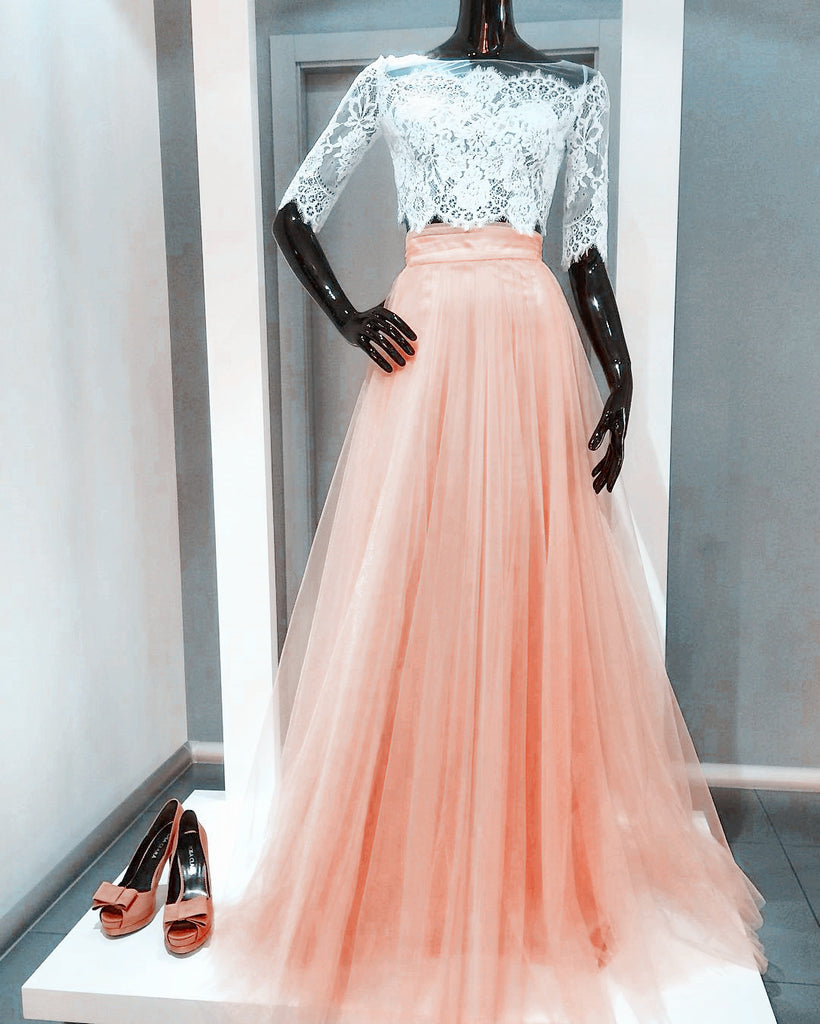 elegant prom dresses white lace crop top with pleated skirts
