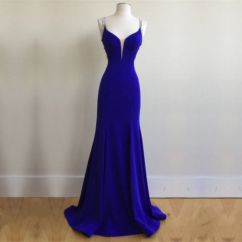 Image of Royal Blue Satin V Neck Mermaid Evening Dresses With Cross Back