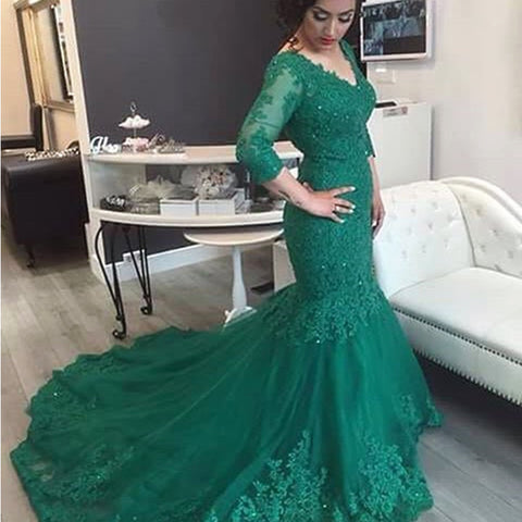 Image of Elegant Lace 3/4 Sleeve Mermaid Evening Dresses For Women