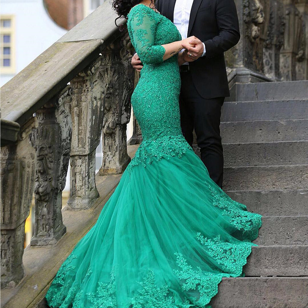 Elegant Lace 3/4 Sleeve Mermaid Evening Dresses For Women