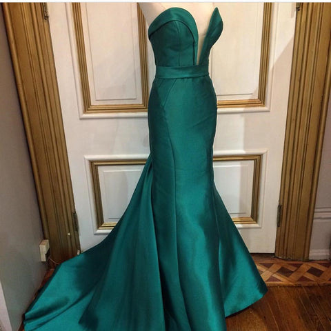 Image of Emerald Green Satin Long Sweetheart Prom Dresses Mermaid