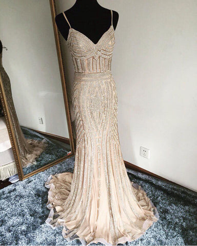 Image of V Neck Long Tulle Mermaid Evening Dresses With Gold Beading