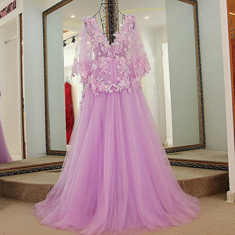 Image of Lilac Tulle Long V Neck Puffy Sleeves Evening Dresses With Flower