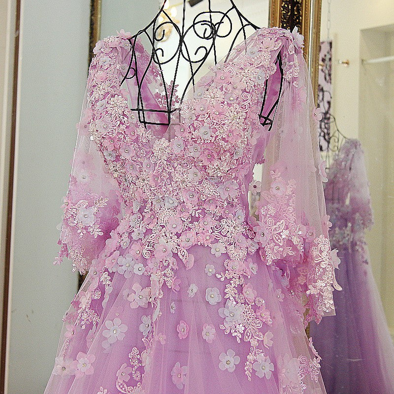 Lilac Tulle Long V Neck Puffy Sleeves Evening Dresses With Flower