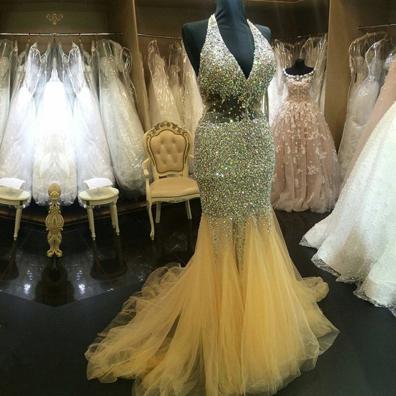 Halter Tulle Crystal Beaded Mermaid Evening Dresses Prom Gowns 2017 Sexy