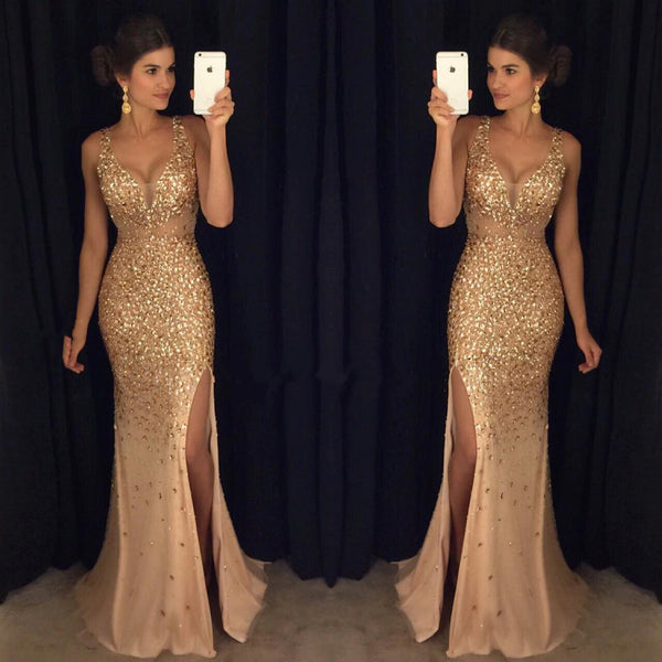 Sexy V Neck Leg Slit Champagne Mermaid Prom Dress Crystal Beaded