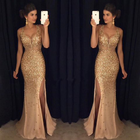 Image of Sexy V Neck Leg Slit Champagne Mermaid Prom Dress Crystal Beaded